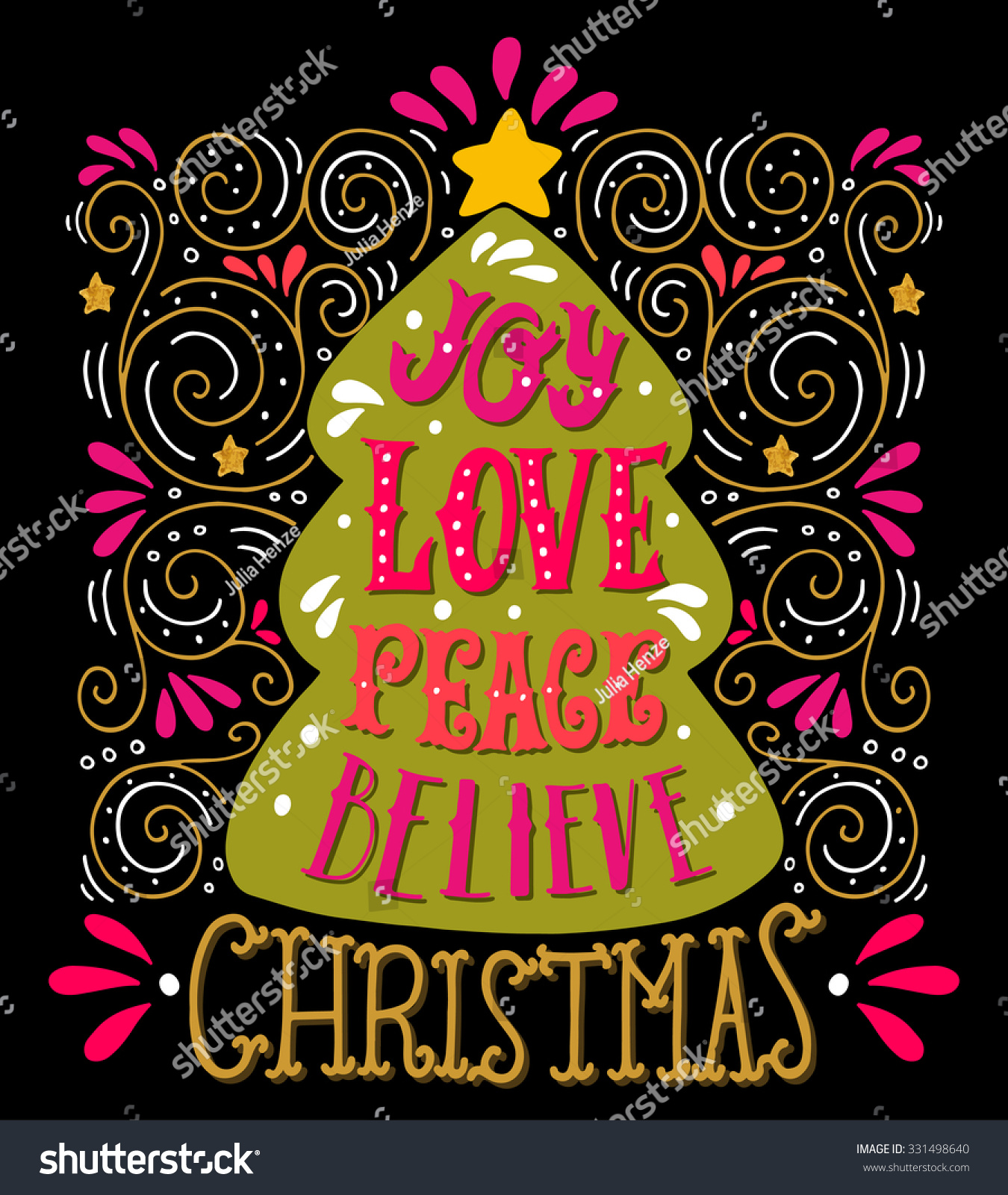 Peace And Joy Quotes: Joy Love Peace Believe. Quote. Merry Christmas Hand