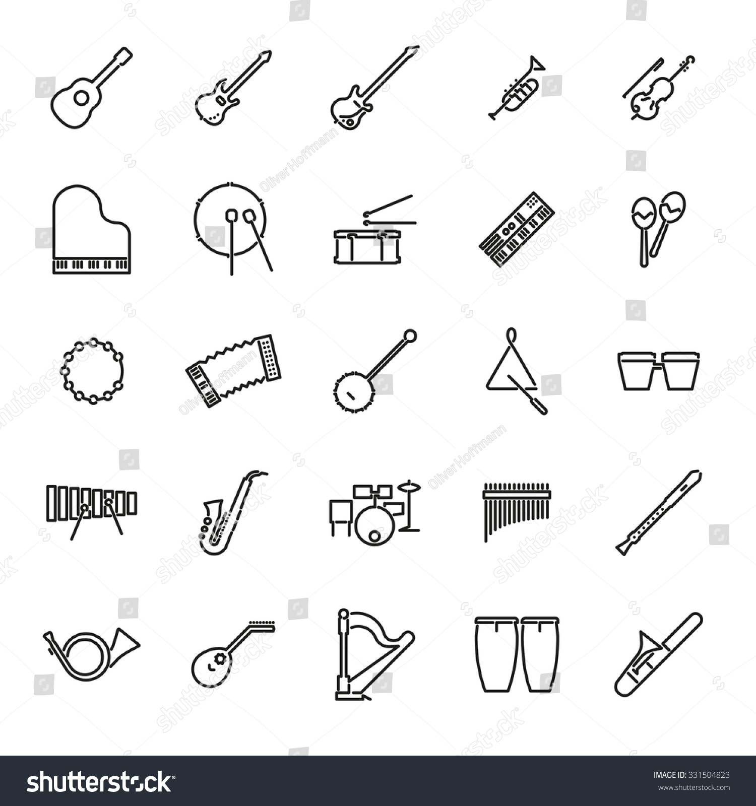 Musical Instruments Line Icon Set Collection Stock Vector 331504823