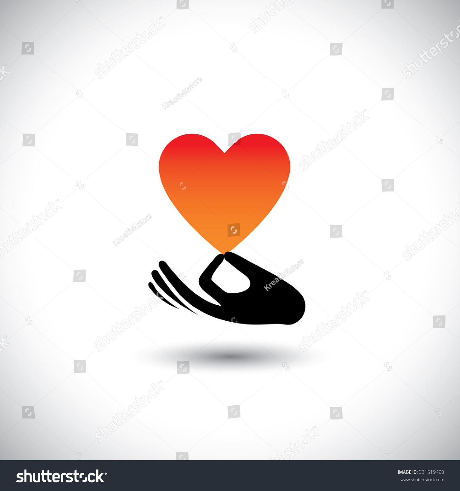 Heart Love Symbol Hand Vector Logo Stock Vector Royalty Free