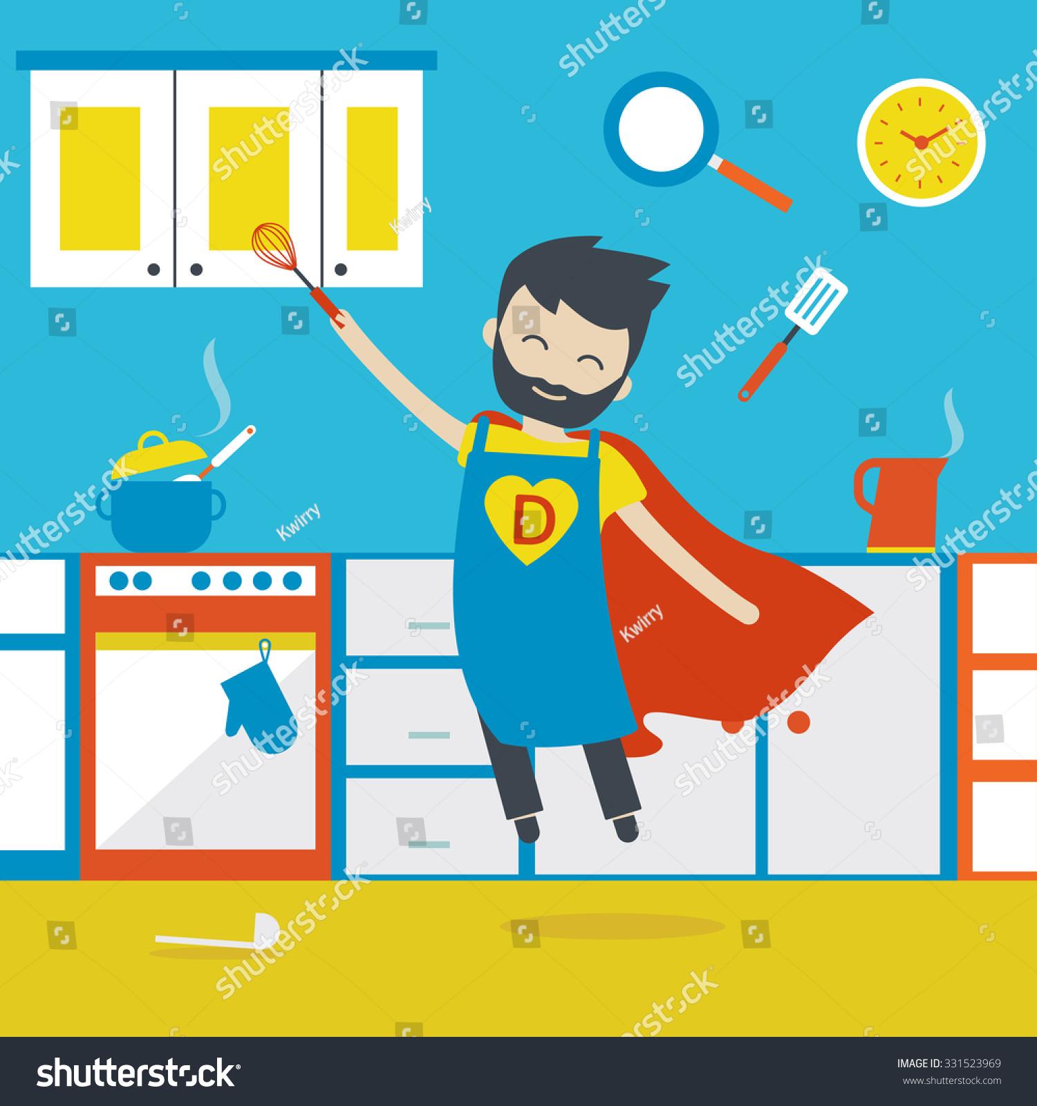 Vector Illustration Happy Super Dad Cooking Stock Vector (2018 ...