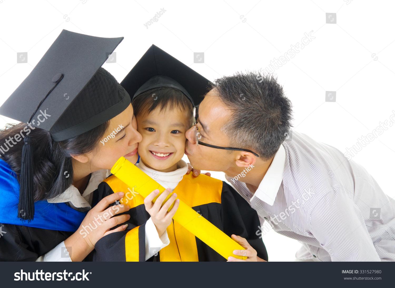 Asian Kindergarten Child Graduation Gown Mortarboard Stock Photo ...