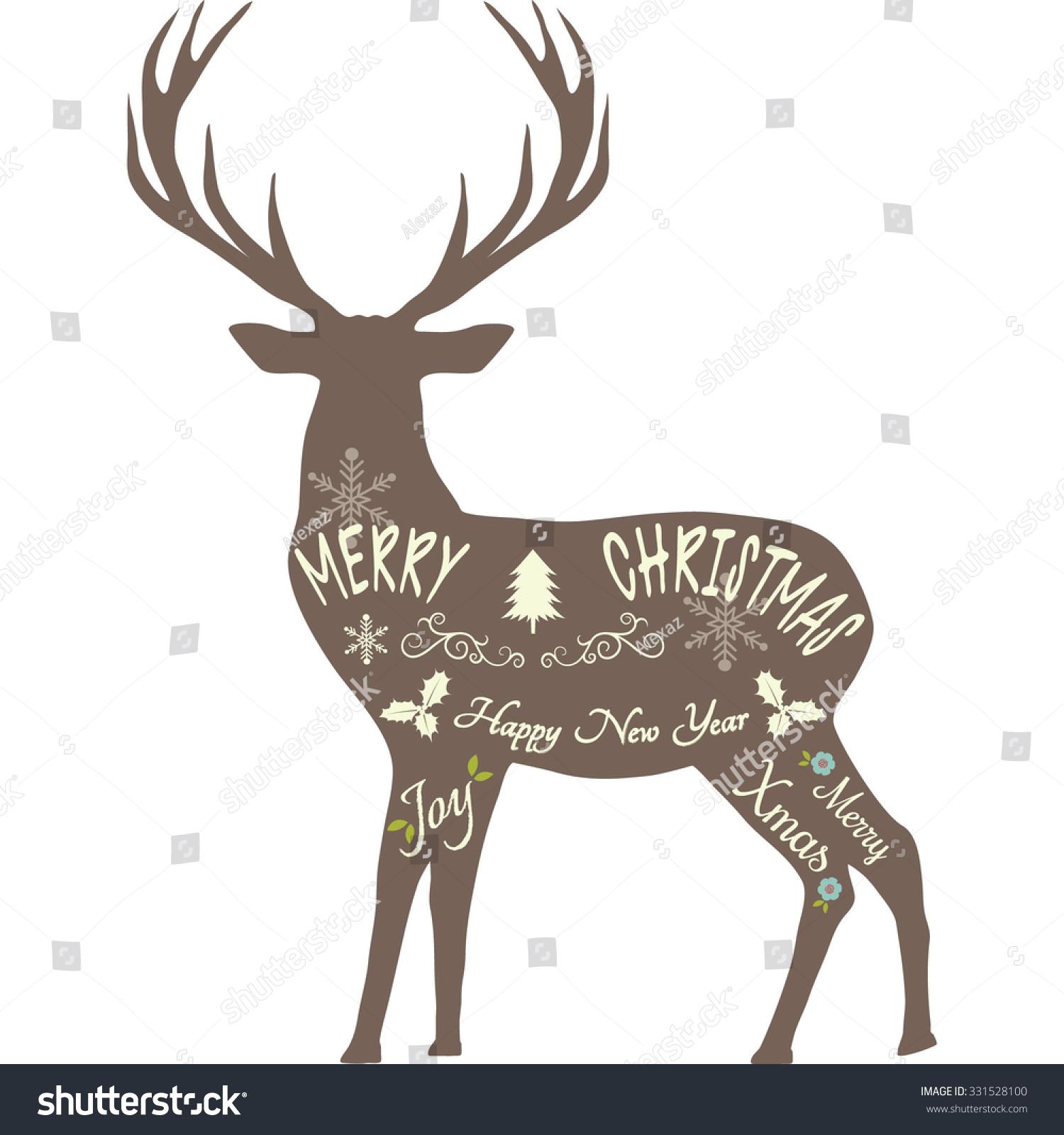Merry Christmas Reindeer,Reindeer Silhouette,Brown ...