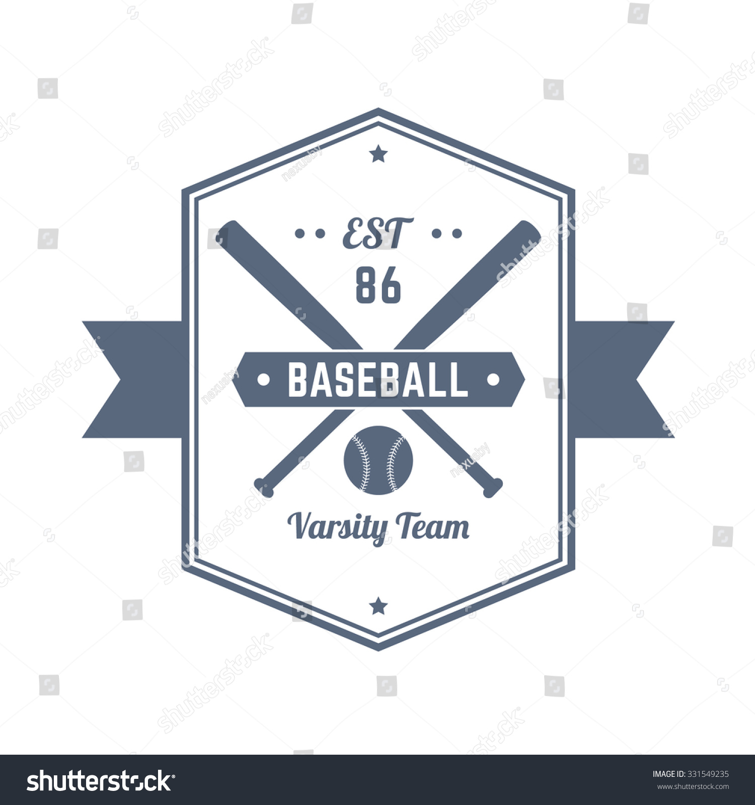 Baseball Team 86 Vintage Emblem, Logo, T-Shirt Design, Print