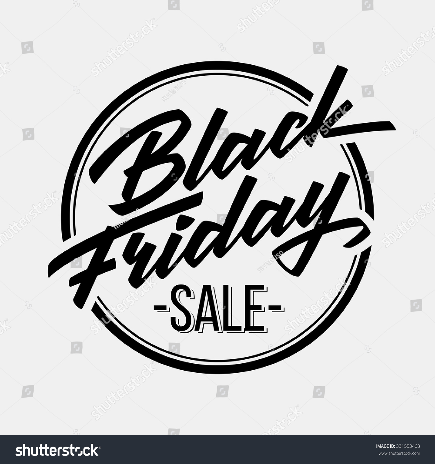 Black friday sale badge handmade lettering stock vector Calligraphy logo