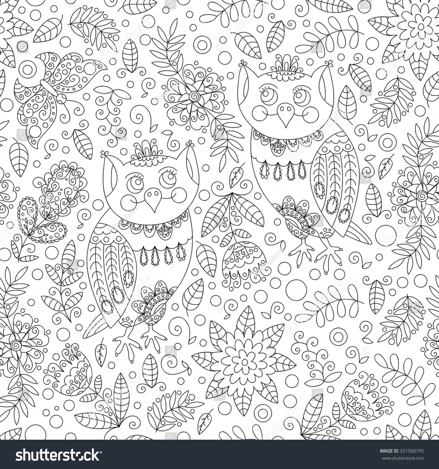 Forest owl vector seamless pattern Doodle background with flowers leafs owl Cute