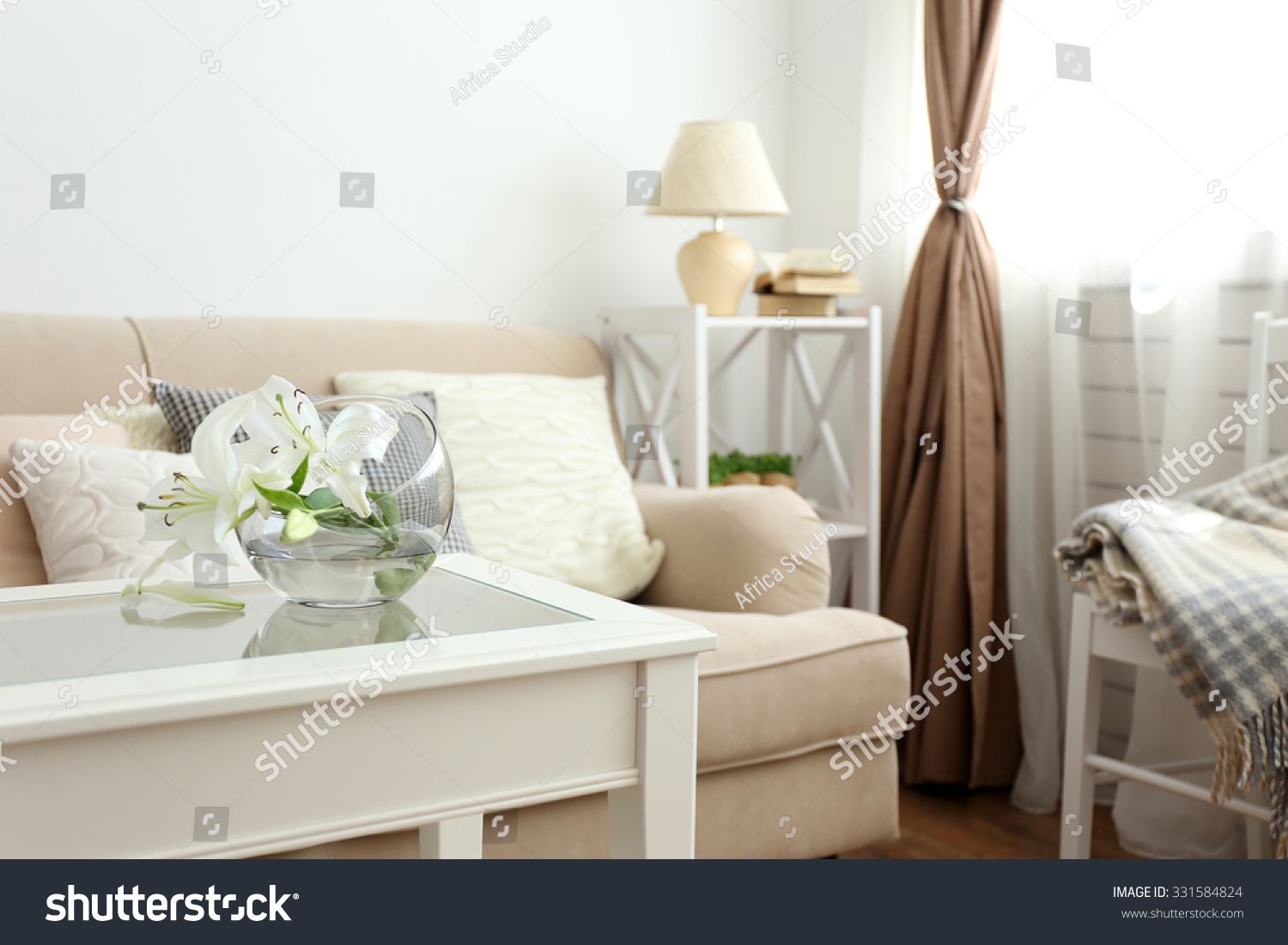 pastel color sofa beautiful pillows vase stock photo 331584824 shutterstock. Black Bedroom Furniture Sets. Home Design Ideas