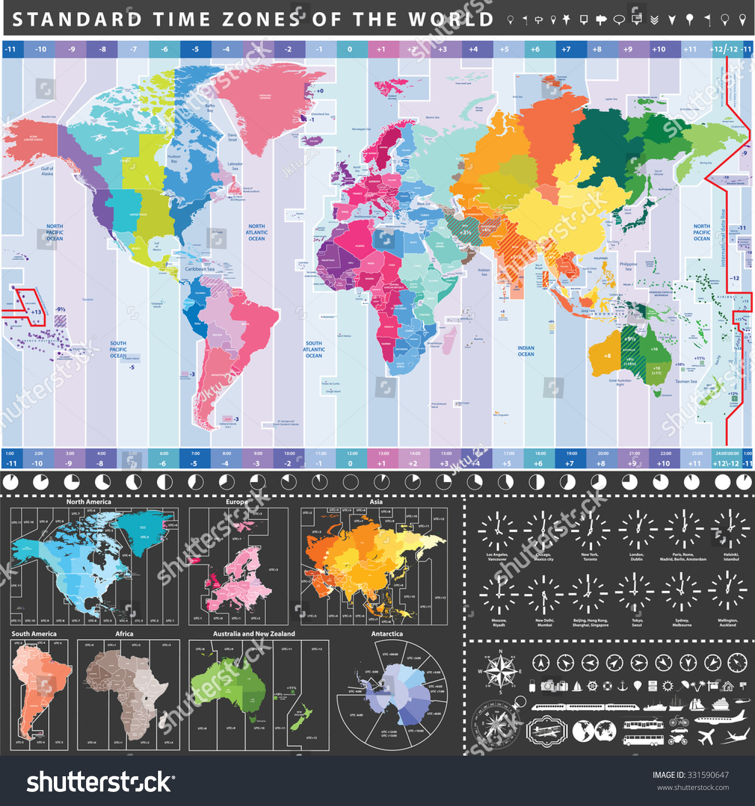 Vector world standard time zones map vectores en stock 331590647 vector world standard time zones map vectores en stock 331590647 shutterstock gumiabroncs Images