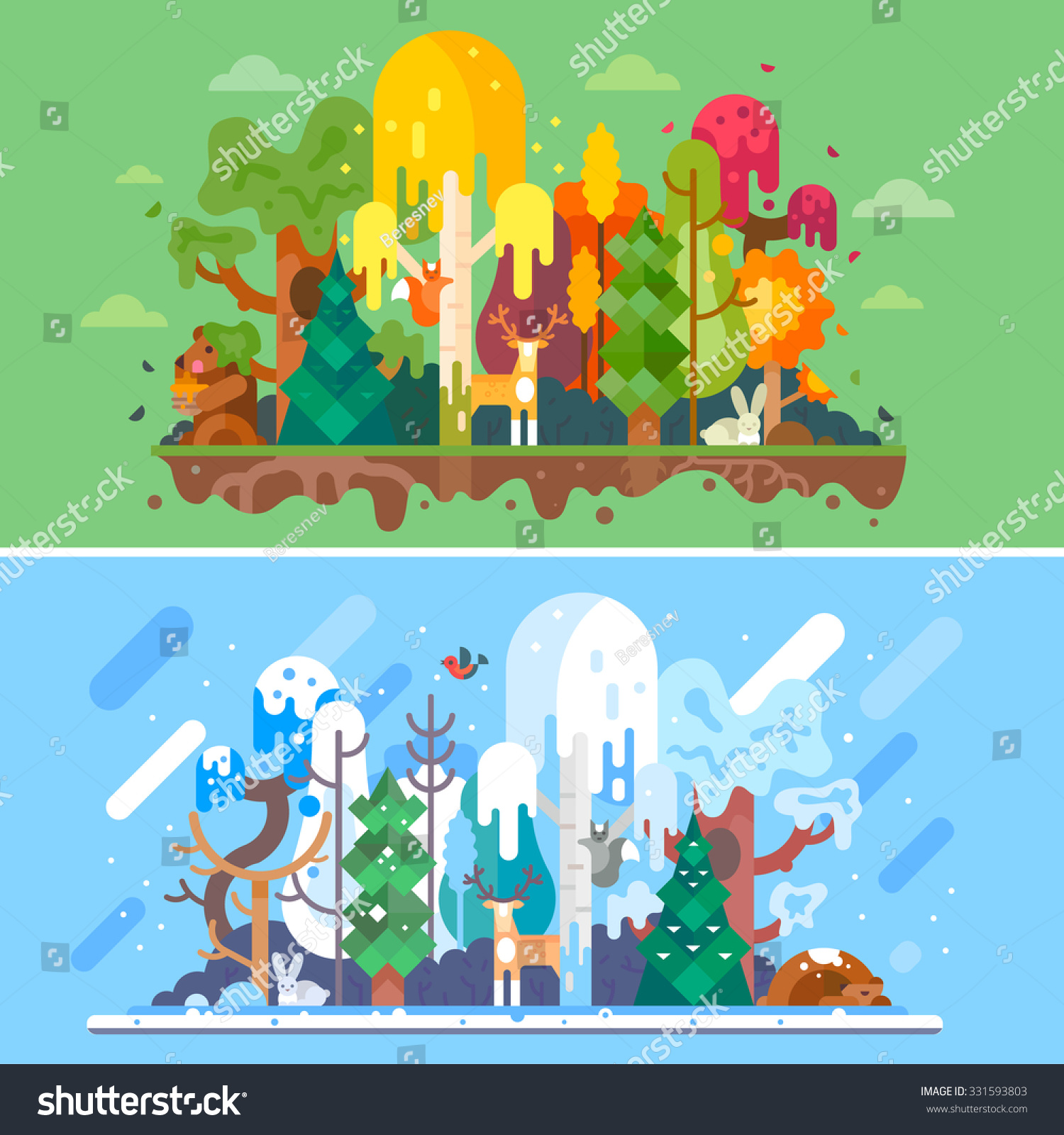 Autumn and winter forest landscapes with same animals Seasons autumn trees withs yellow and red-colored leaves winter snowbound trees rabbit hare bear squirrel deer Flat vector illustration