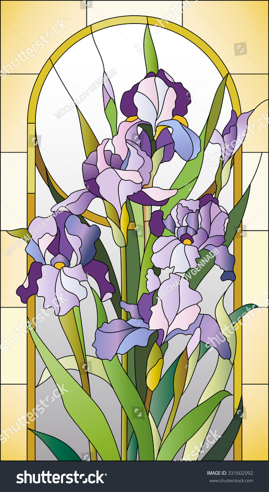 Stained Glass Pattern with Irises Stock Vector 331602092 ...