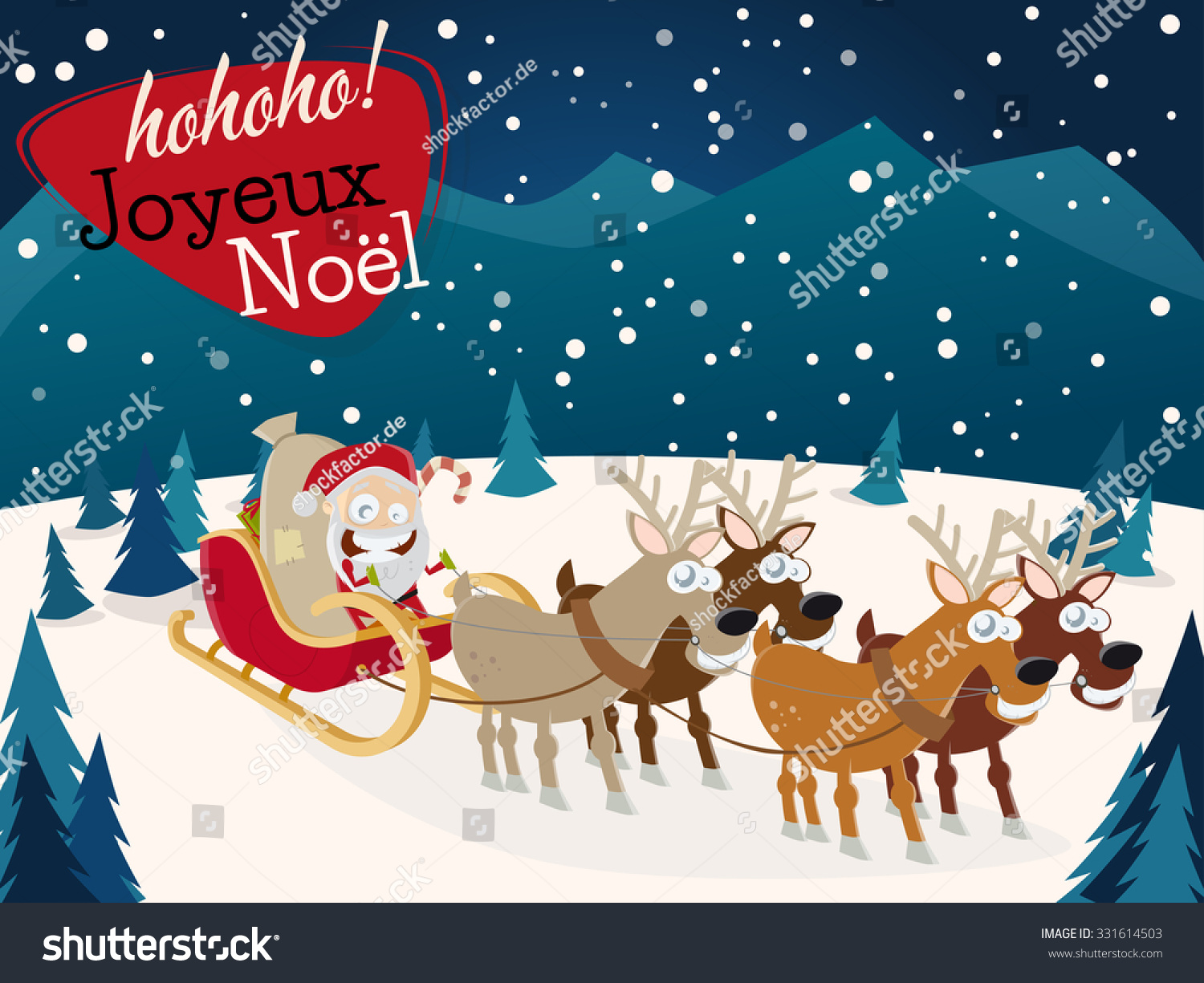 French christmas greetings joyeux noel santa stock vector hd french christmas greetings joyeux noel with santa claus and reindeers m4hsunfo Images