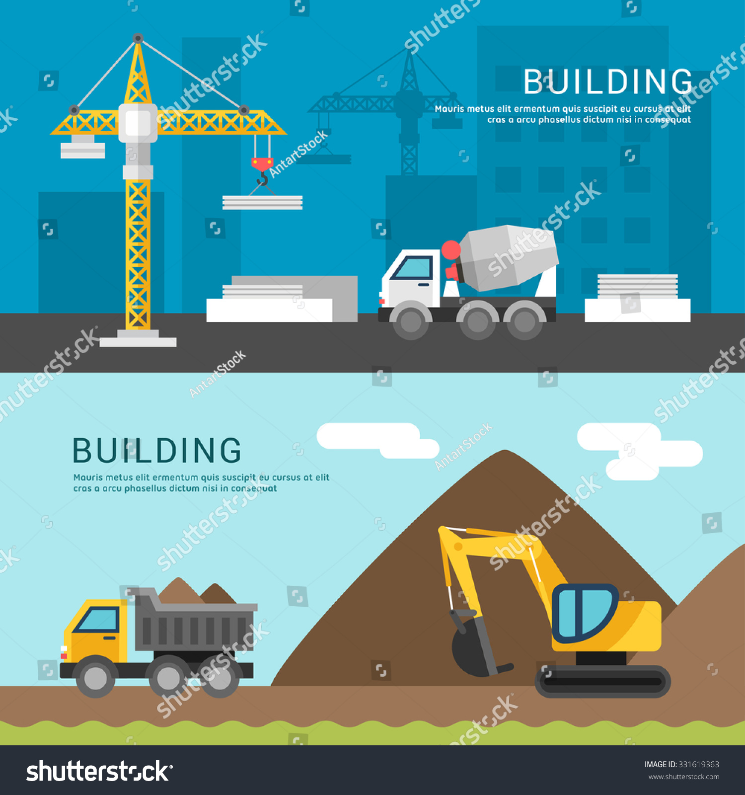 Building Concept Crane and Cement Mixers Dump Truck and Excavator Vector Illustration in Flat Design Style for Web Banners or Promotional Materials