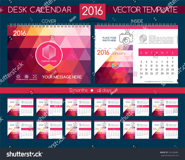 Design Calendar 2016 Vector Templates All Stock Vector 331636481 ...