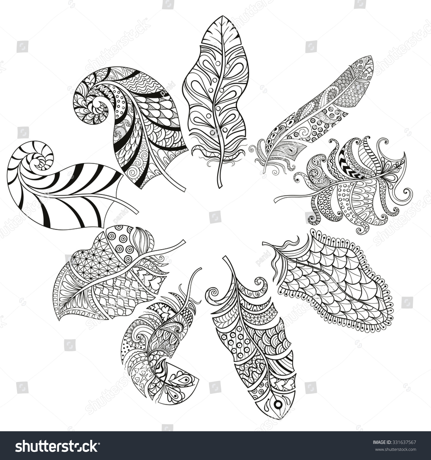 Zentangle stylized nine feathers round coloring stock for Coloring pages of feathers