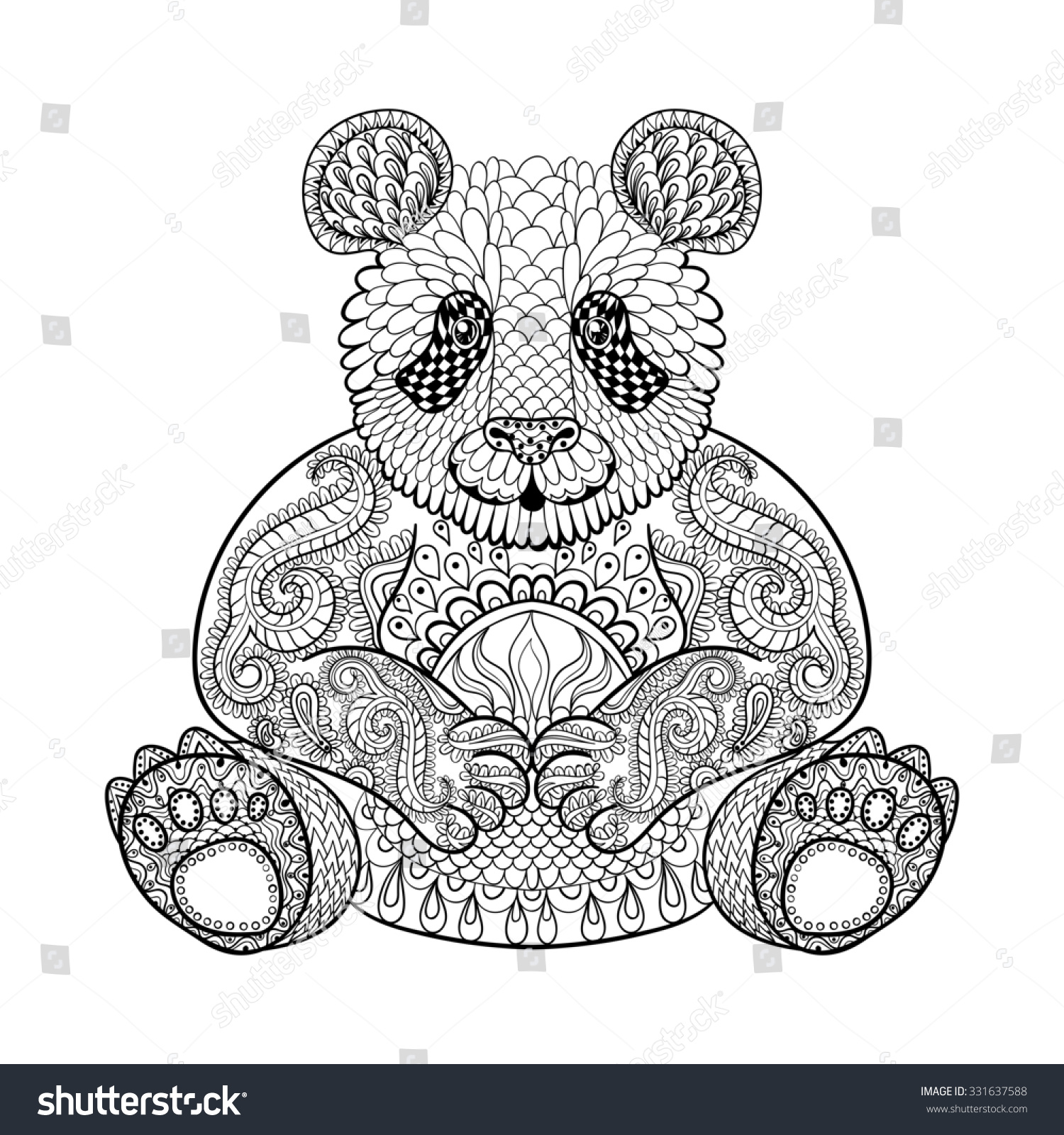 hand drawn tribal panda animal totem stock illustration 331637588