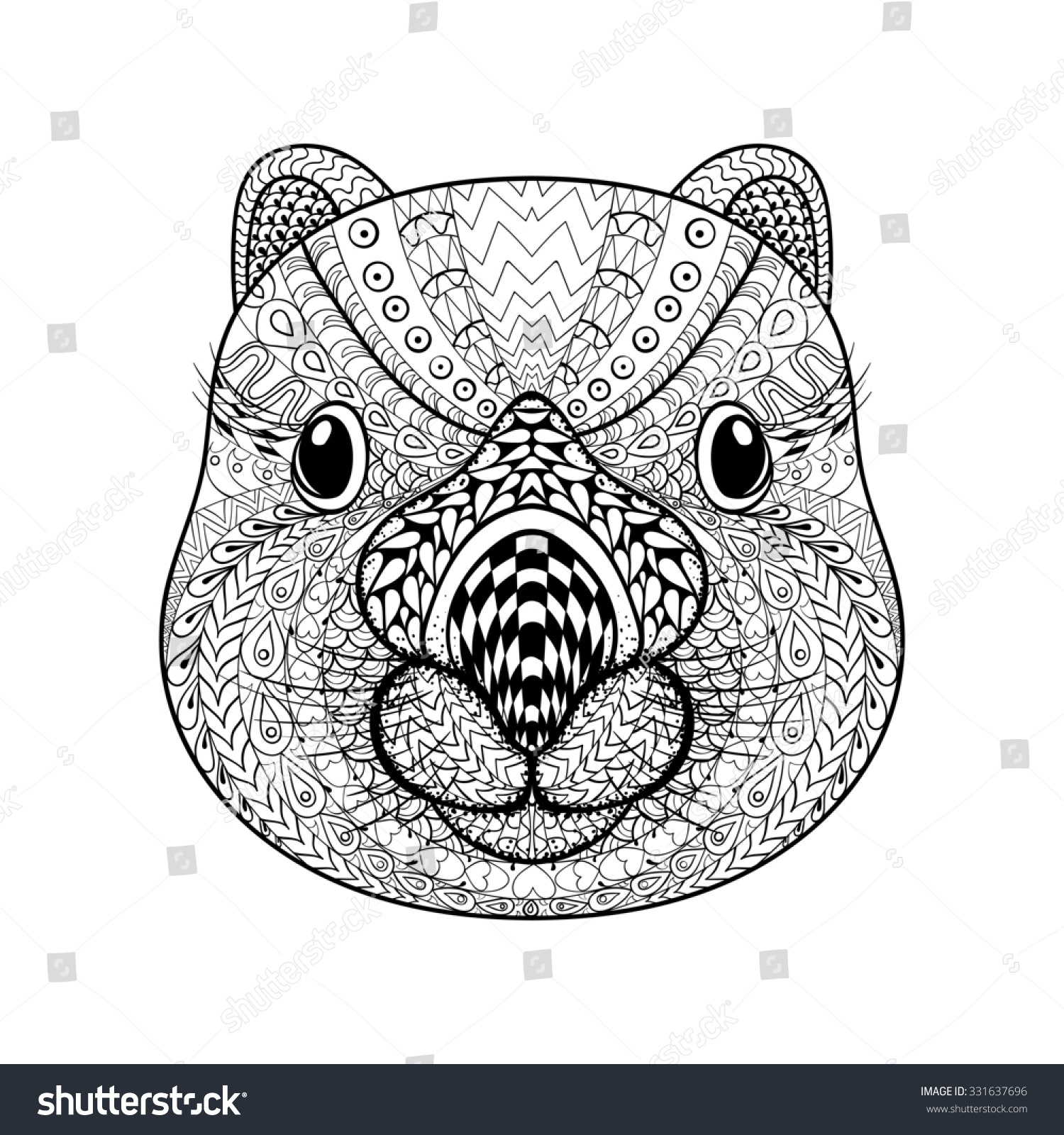 Coloring Pages Wombat Coloring Page hand drawn tribal wombat face animal stock illustration 331637696 totem for adult coloring page with high details isolated