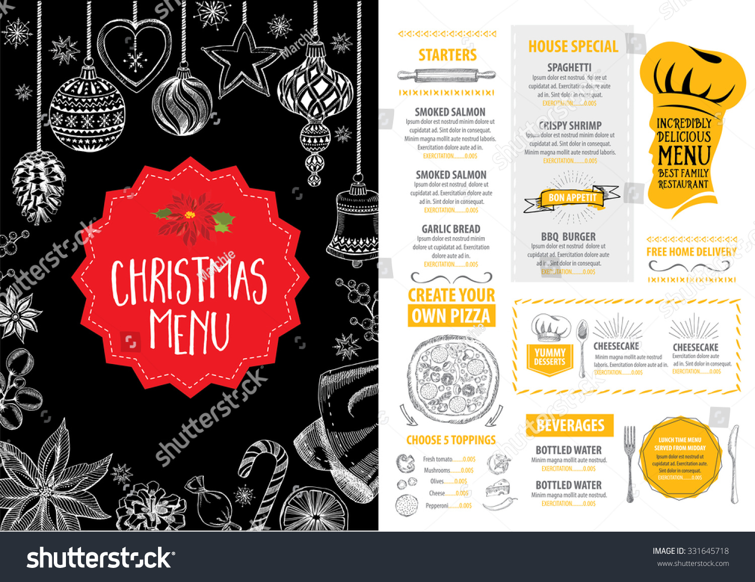 Vector christmas restaurant brochure menu design stock for Christmas brochure template