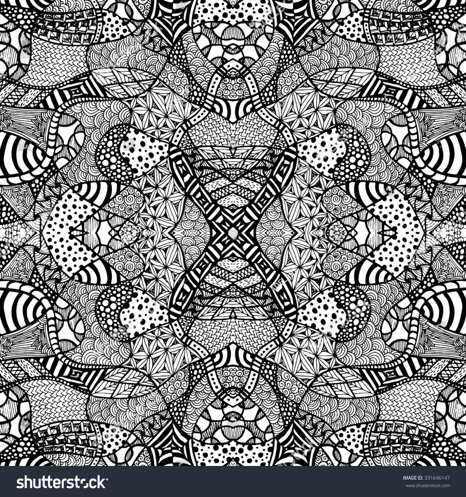 zentangle background with a lot of elements totally hand drawn illustration vector image can