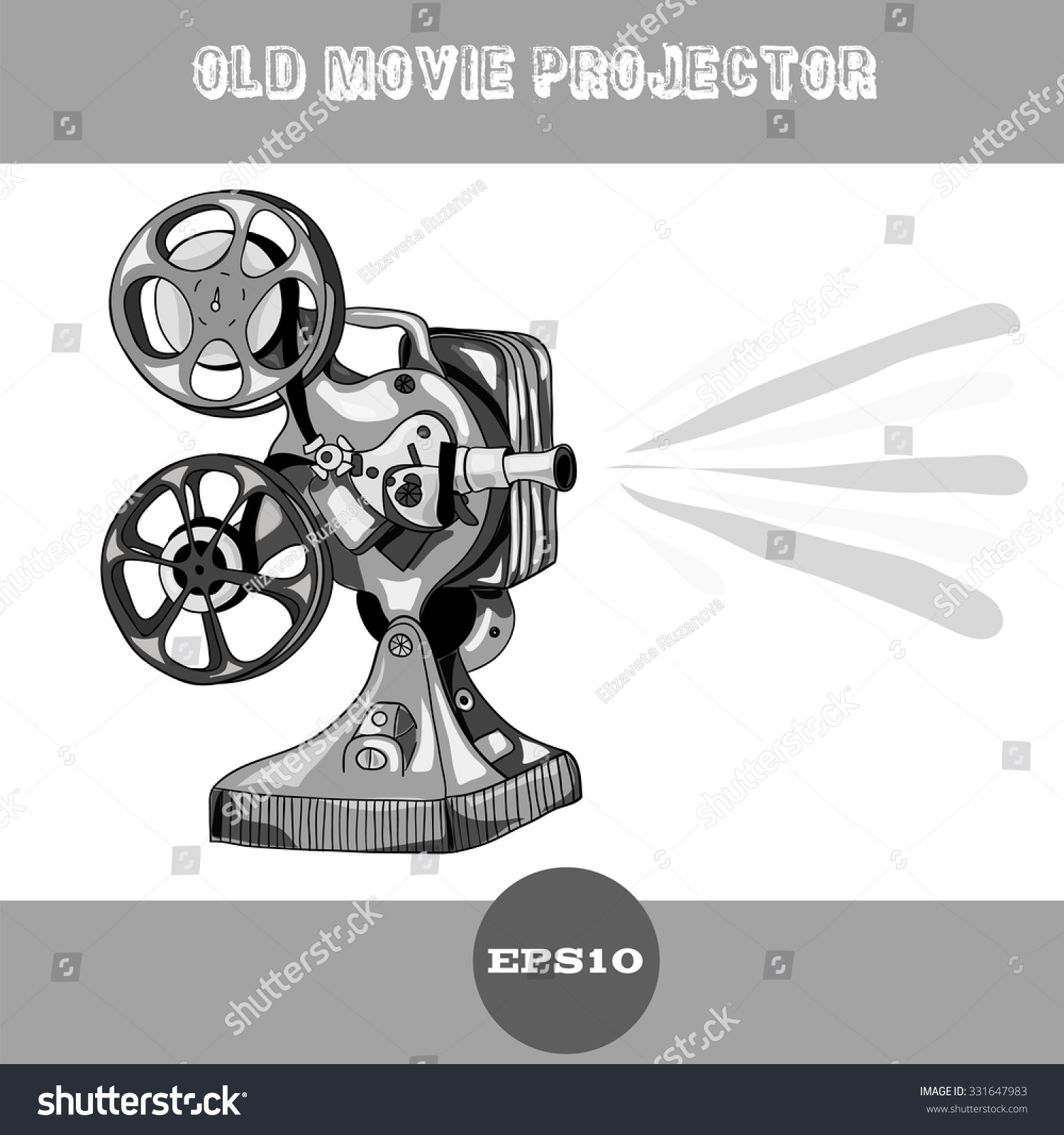 Old Movie Projector Vector Illustration On Stock Vector (Royalty