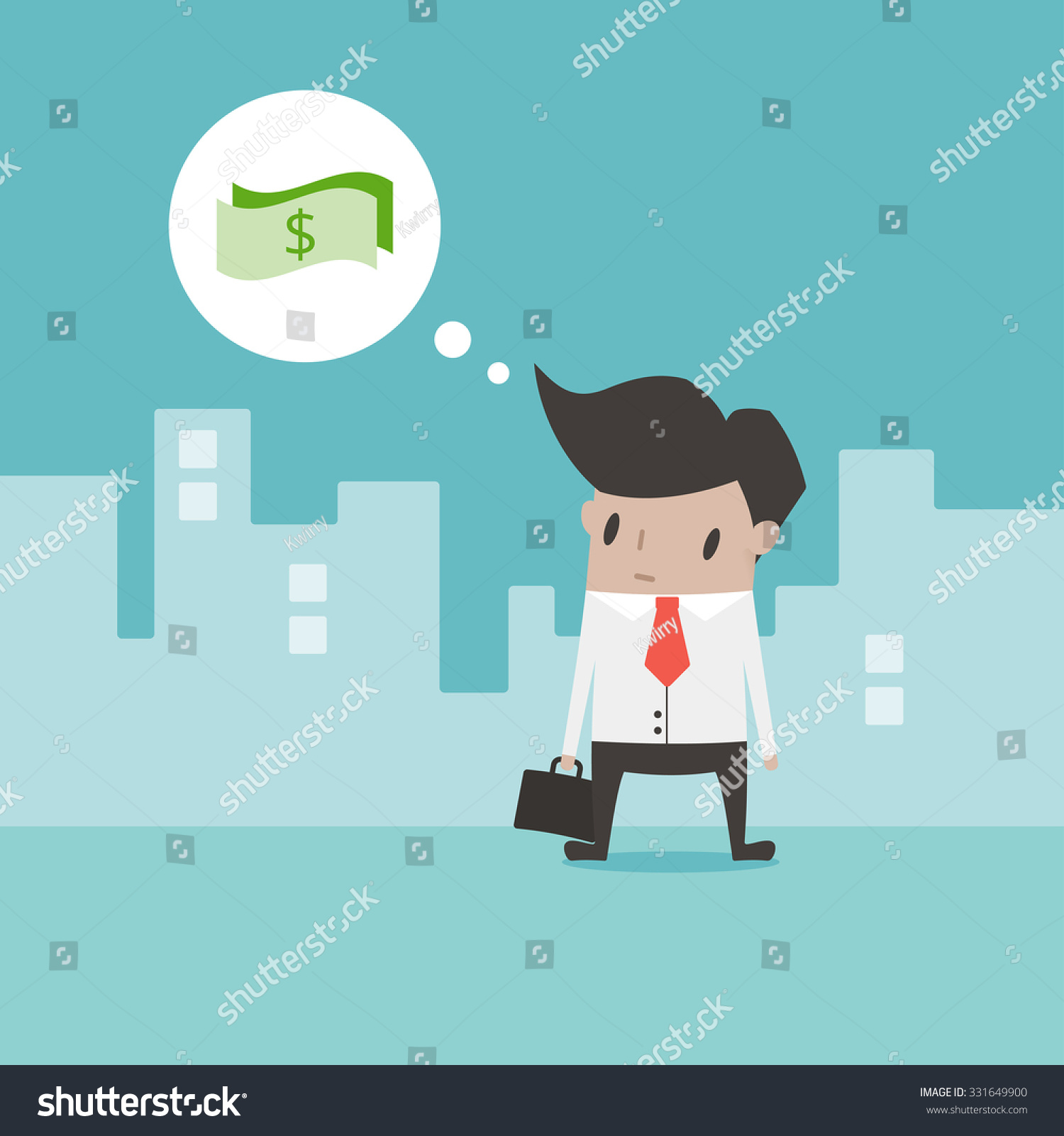 Vector Illustration With Businessman Thinking How To Earn Money Outdoor  Flat Design Illustration