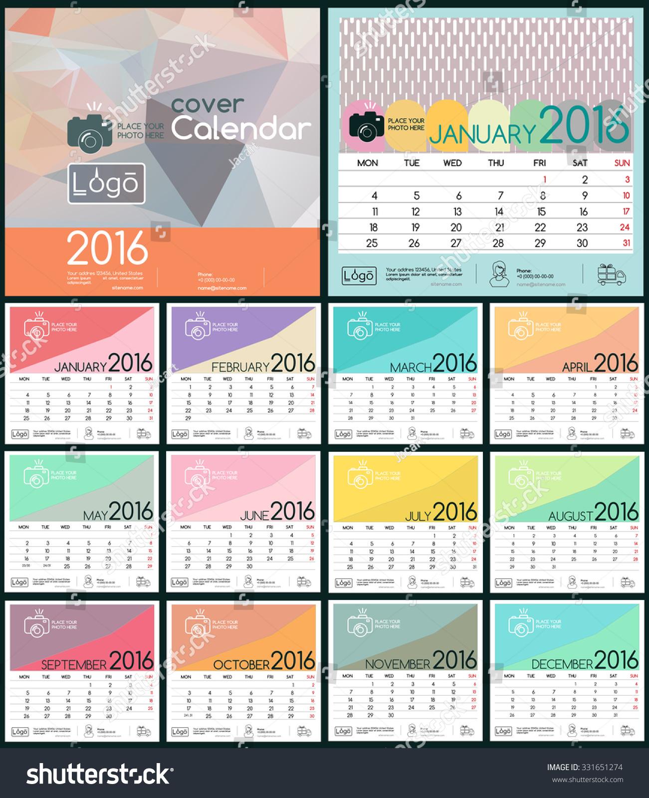 Design Calendar 2016 Vector Templates All Stock Vector 331651274 ...