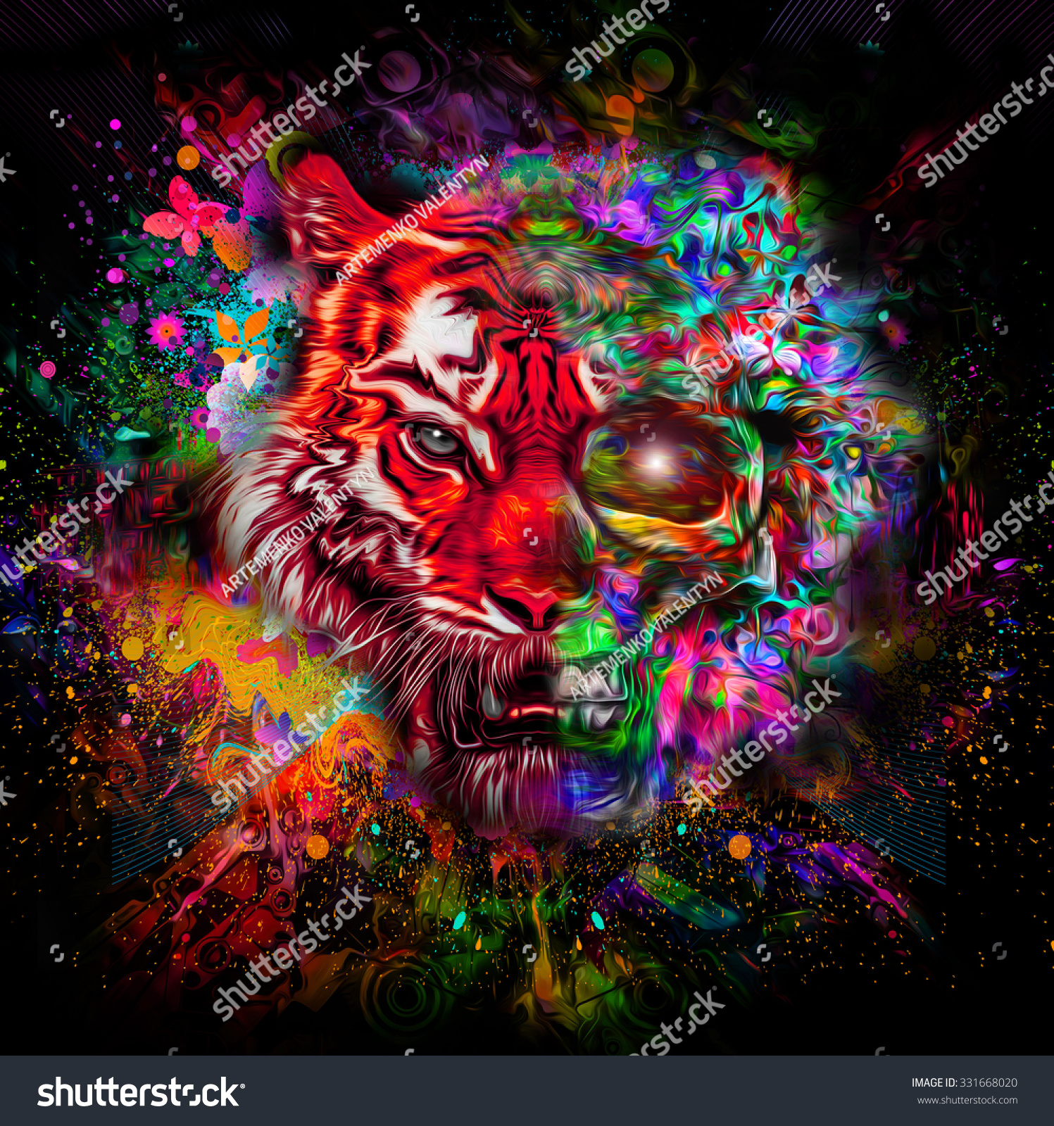 Bright Abstract Colorful Background Tiger Head Stock