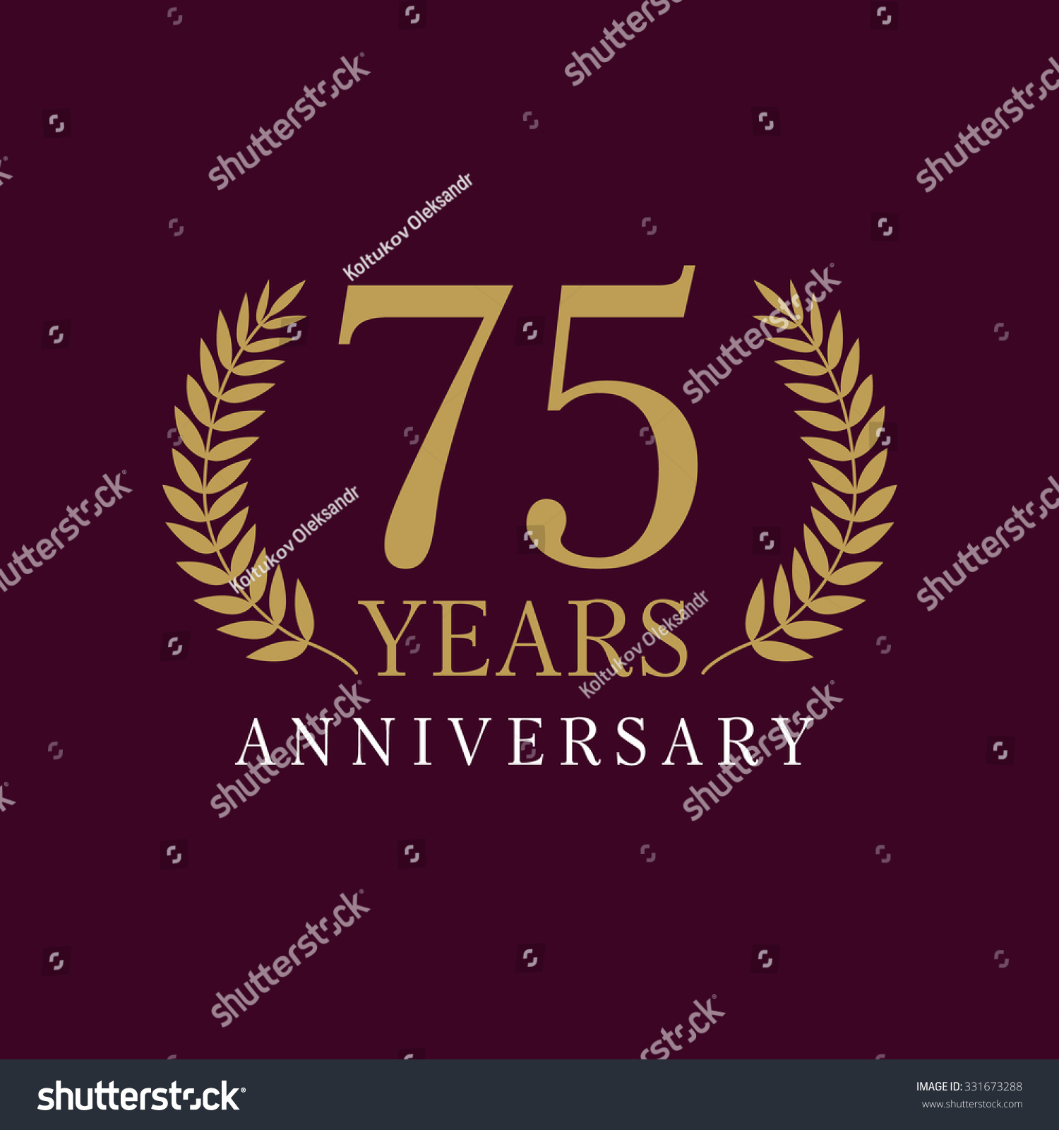 75 years old luxurious numbers congratulations stock vector 75 years old luxurious numbers congratulations 75th vector gold colored template sign framed of palms pronofoot35fo Images