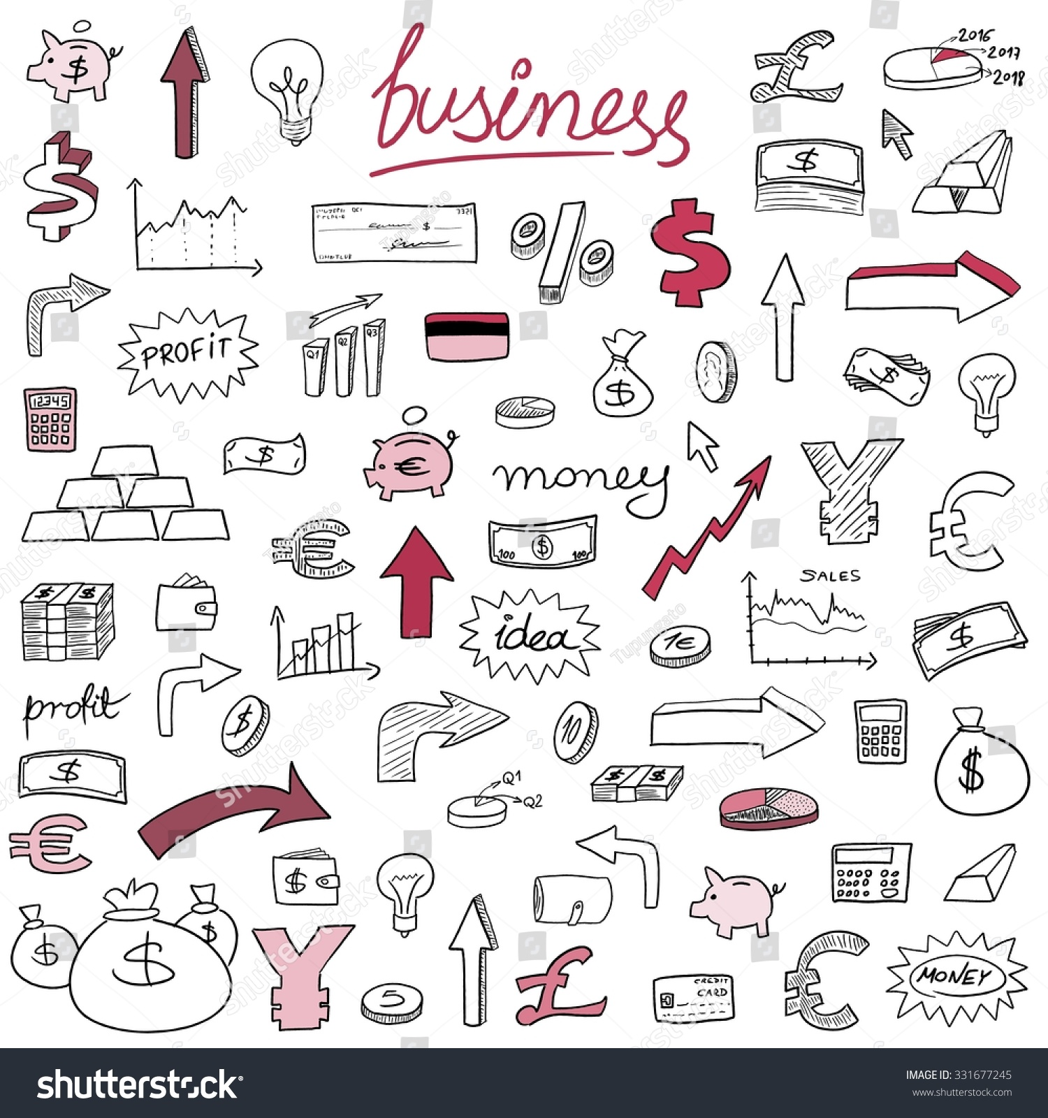 Business financial icons sketchy doodle style stock vector business financial icons sketchy doodle style illustration with money currencies and finance object symbols biocorpaavc