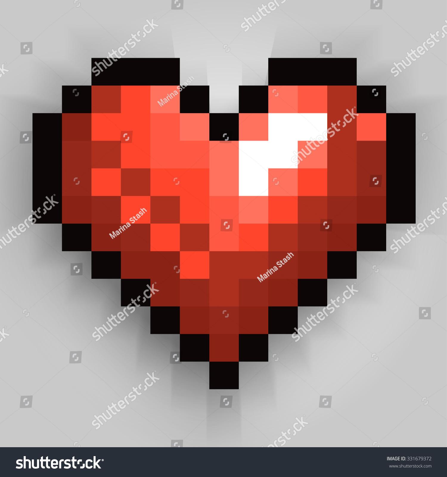 happy valentines day pixel heart greeting stock vector 331679372