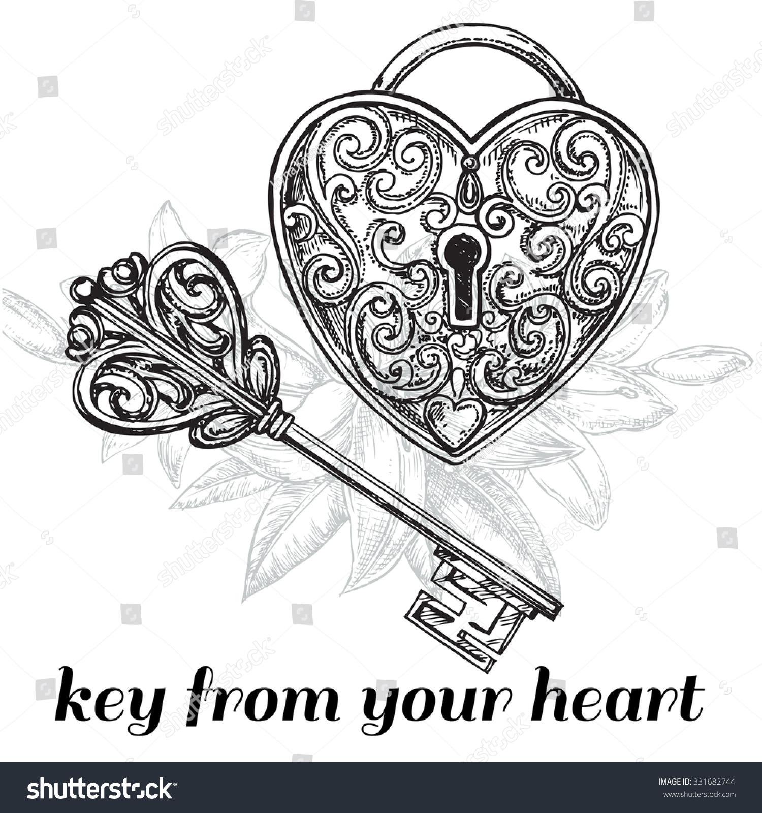 Vector Key Illustration: Vector Illustration Hand Drawn Sketch Illustration Stock