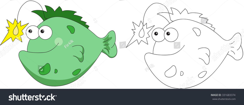 Funny Friendly Cartoon Fish Angler Coloring Stock Vector 331683374 ...