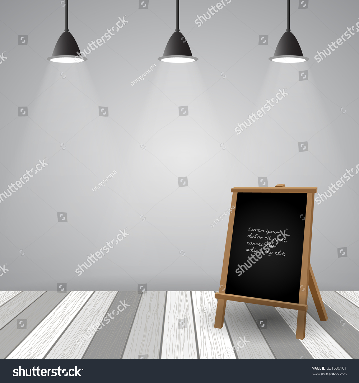 empty room with white wooden floor vector eps10