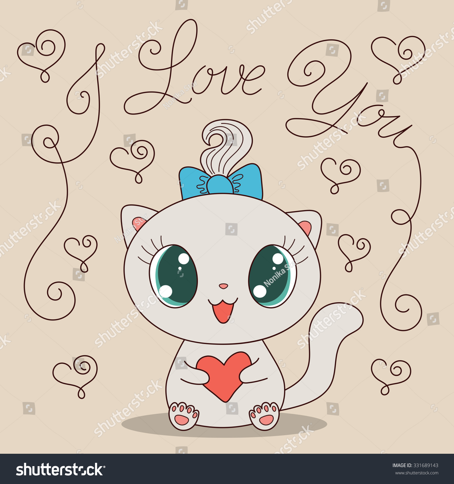 Cute cartoon cat with heart and text I love you. Hand drawn vector ...