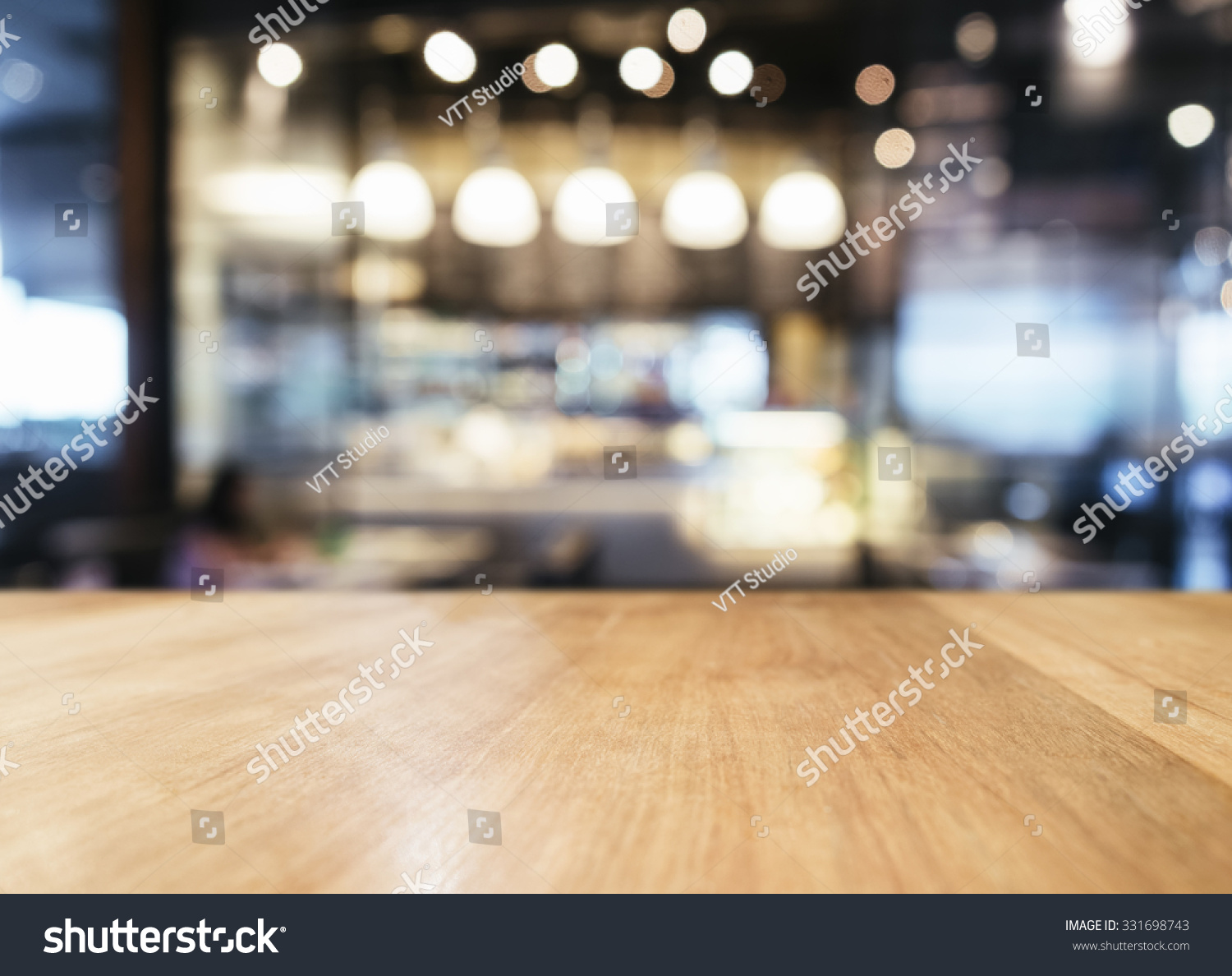 Table top with blurred bar restaurant cafe interior