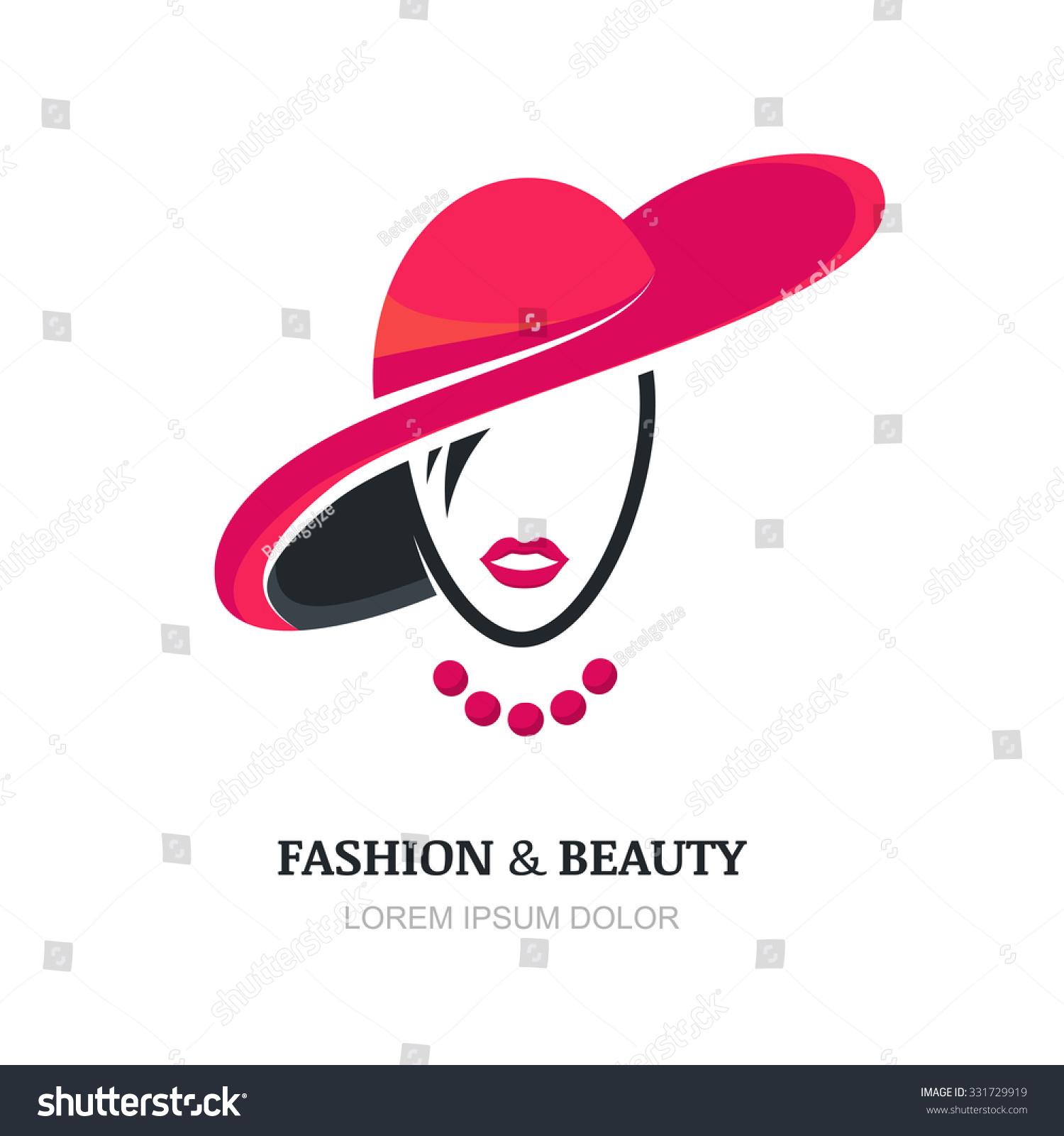 Fashion Huts Logo: Young Woman Pink Lips Fashion Hat Stock Vector 331729919