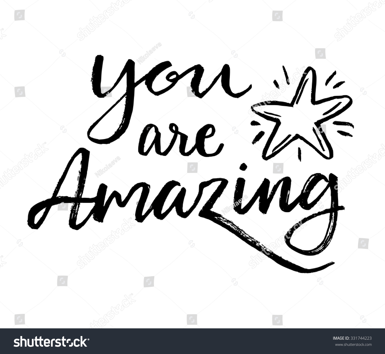 You Amazing Calligraphic Card Hand Drawn Stock Vector