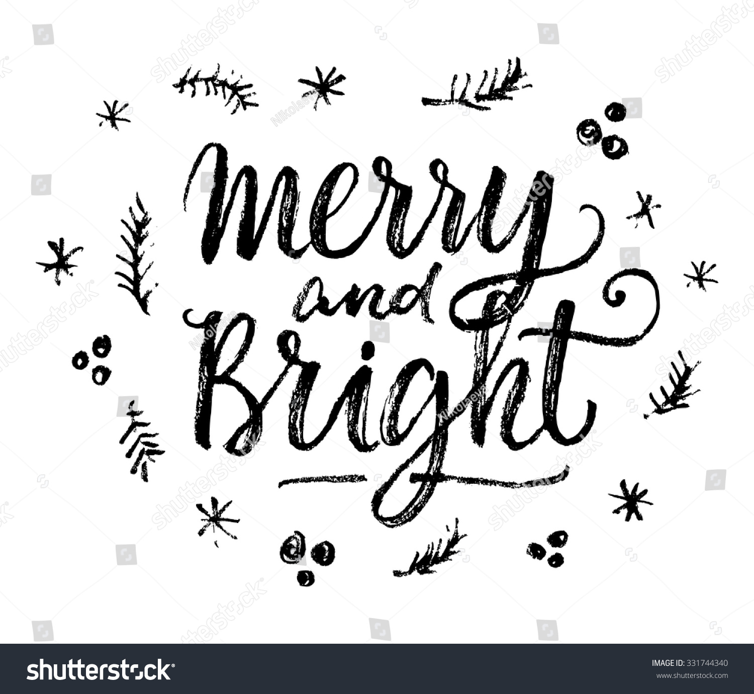 Merry And Bright Hand Lettering Calligraphic Christmas