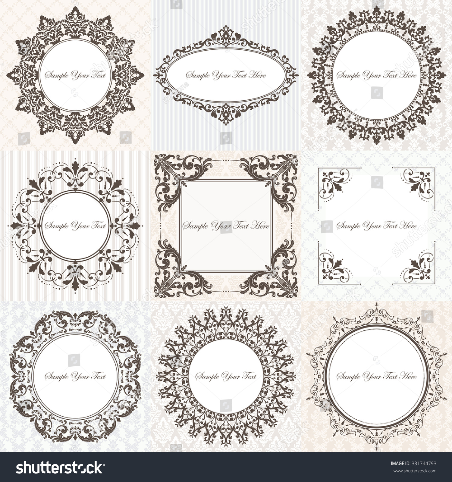 Collection Vintage Classic Frames Damask Patterns Stock Vector (2018 ...