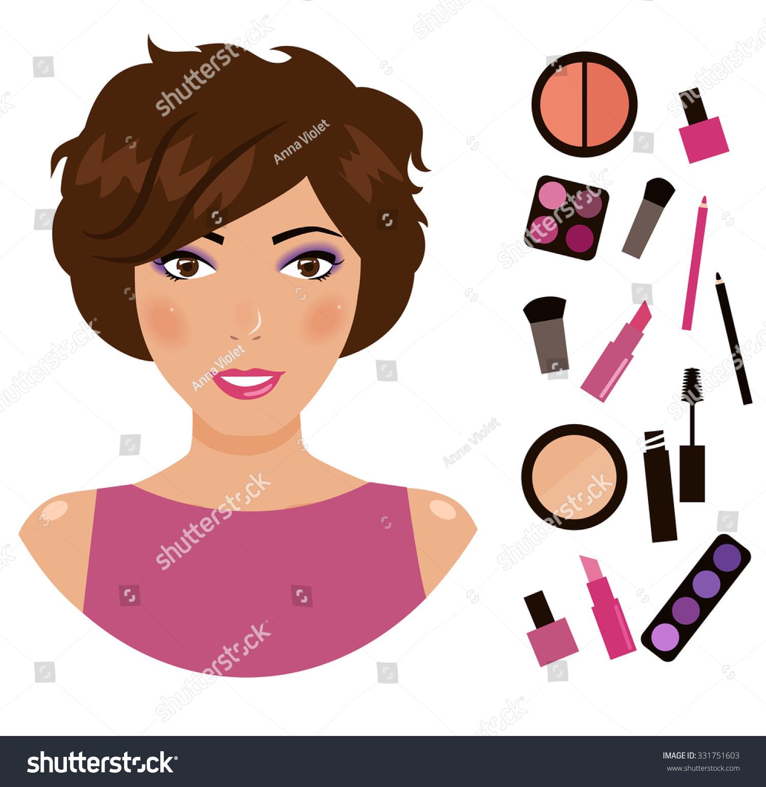 Girl Cosmetics Cartoon Character Vector Isolated Stock ...