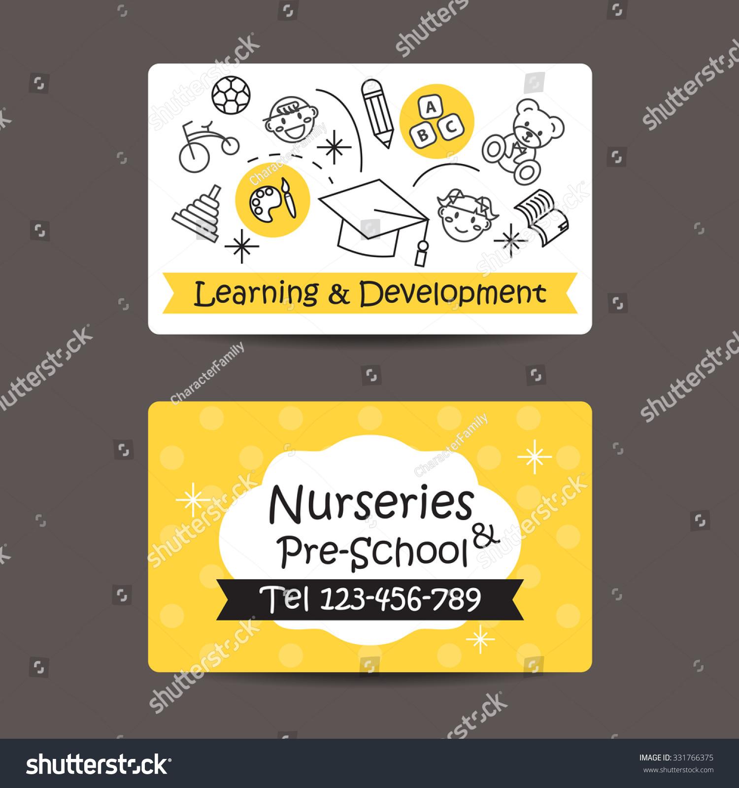 Print Preview Business Card Nursery Preschool Stock Vector (2018 ...