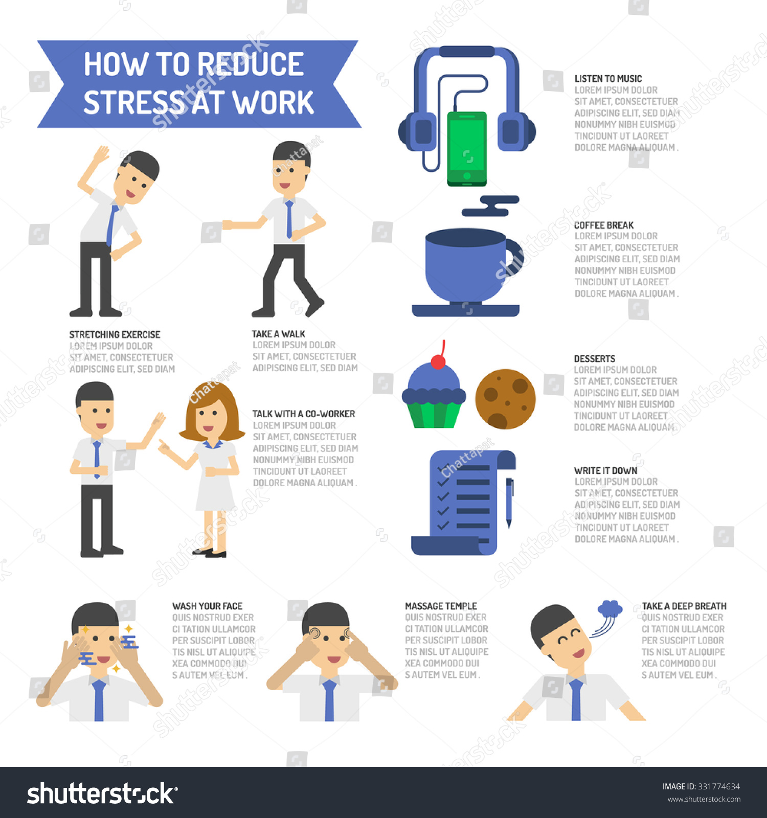 how reduce stress work stock vector shutterstock how to reduce stress at work