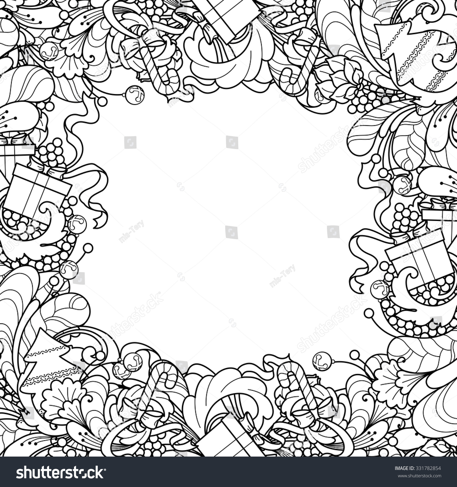 Christmas Frame Christmas Tree Gift Box Stock Vector