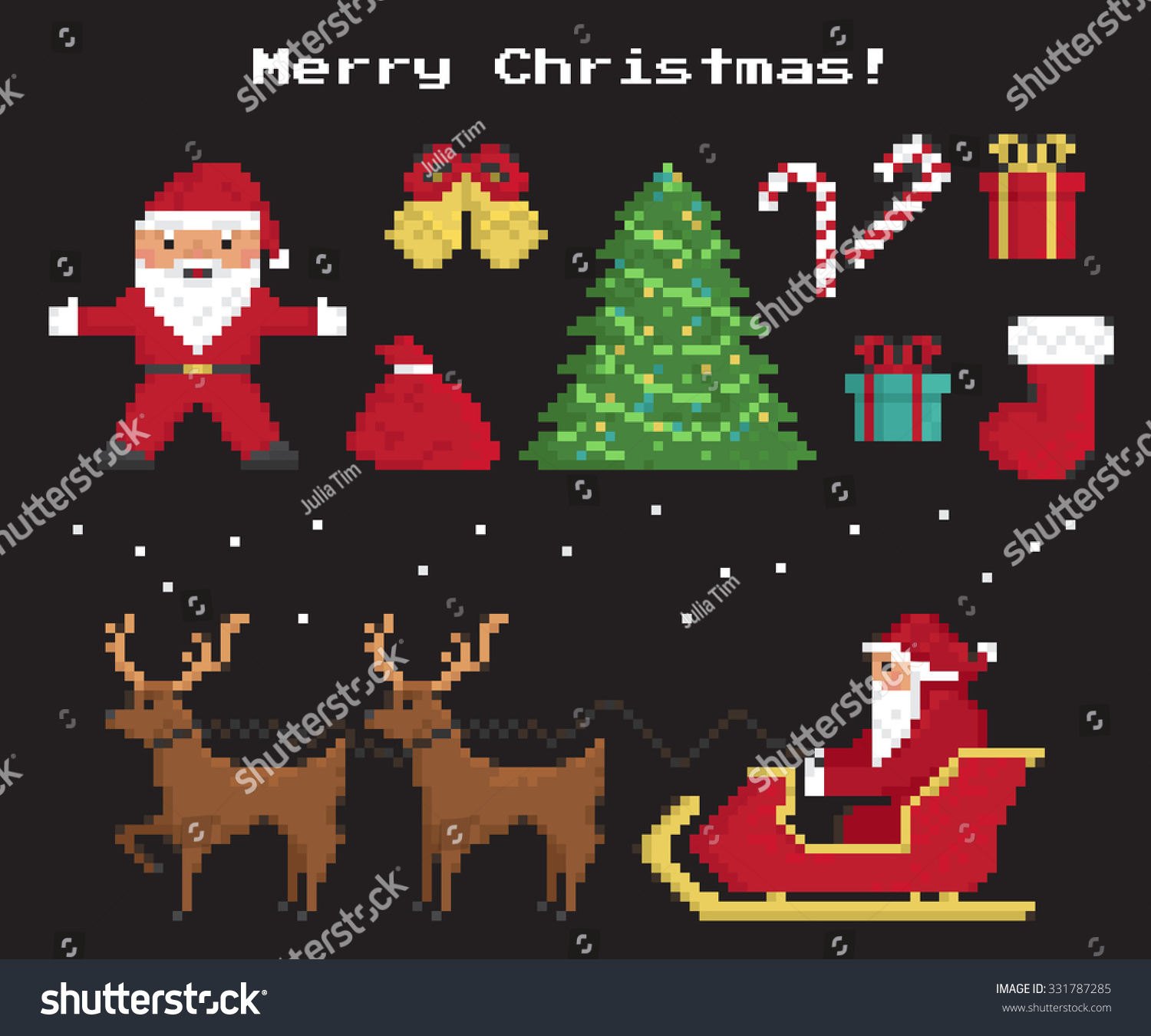 Pixel christmas symbols set santa claus stock vector 331787285 pixel christmas symbols set of santa claus christmas tree red sock with gifts and biocorpaavc