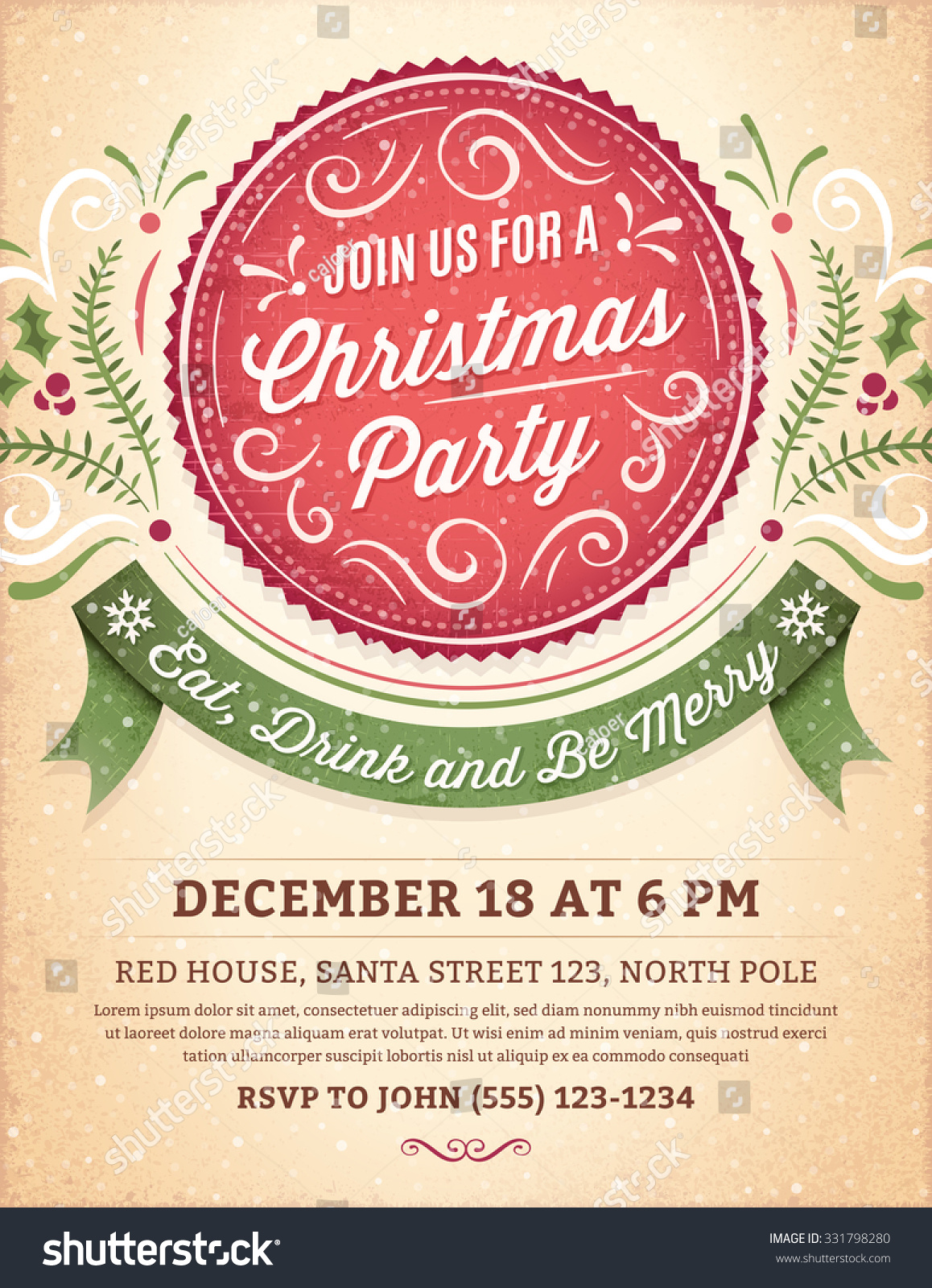 christmas party invitation ornaments label ribbon のベクター画像