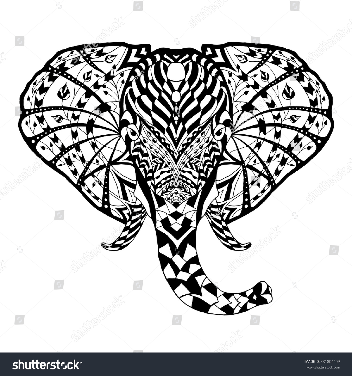 Elephant black white hand drawn doodle stock vector Tribal animals coloring book