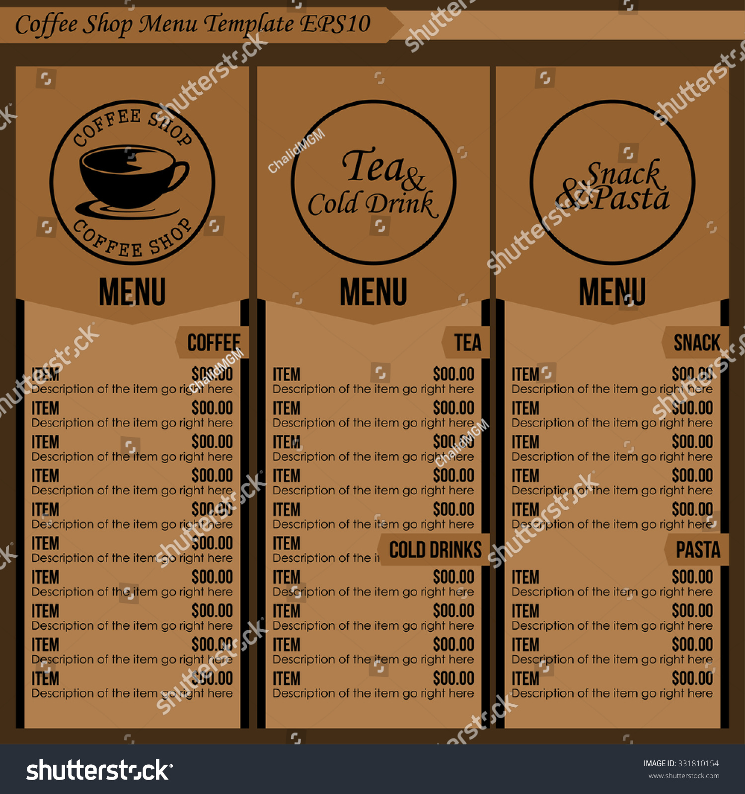 Coffee Shop Menu Template 1