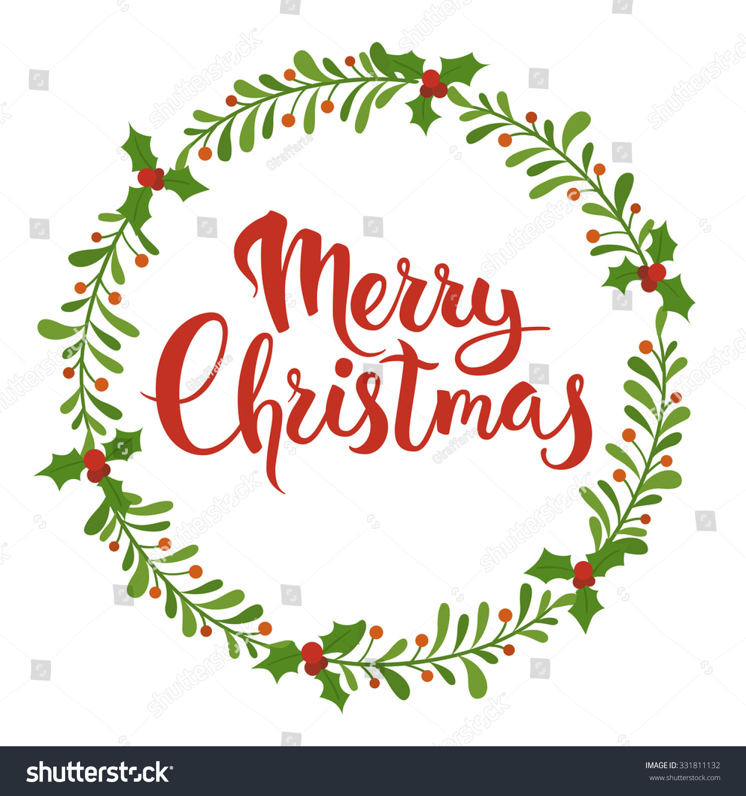 Merry Christmas Calligraphy Christmas Floral Frame Stock Vector HD ...