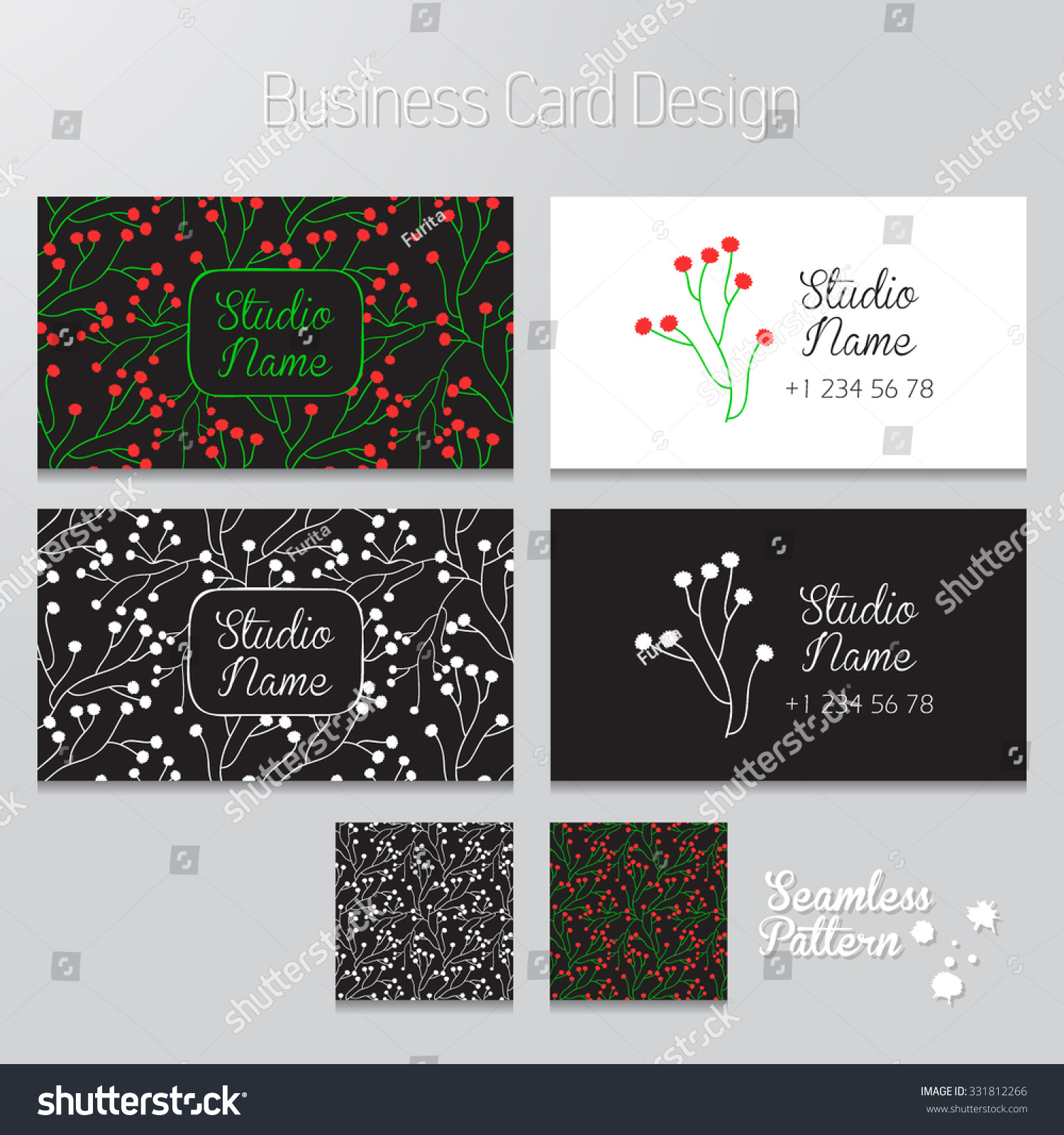 Business Card Design Vector Floral Pattern Stock Vector 331812266