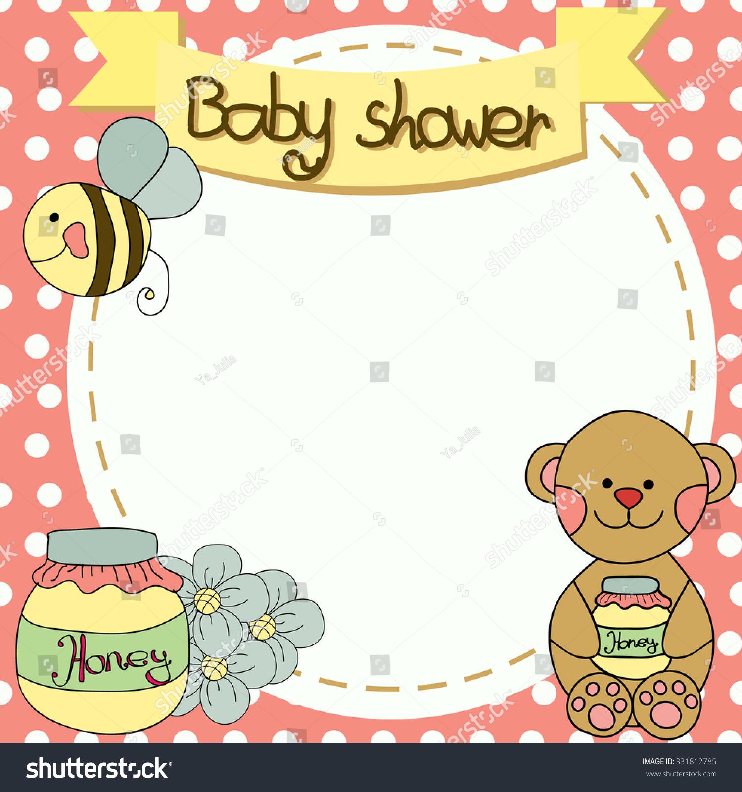 Baby Shower Invitation Bear Honey Bee Stock Illustration 331812785 ...