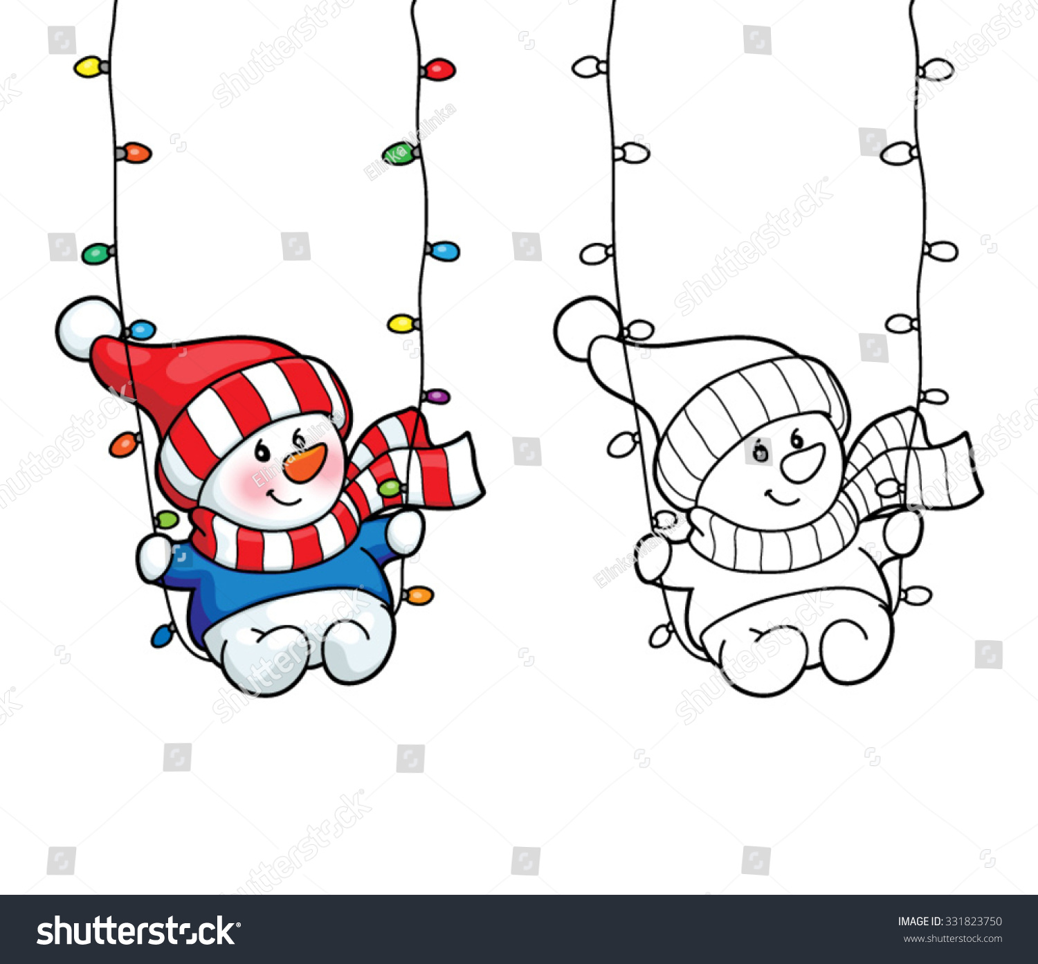 Coloring Book Or Page Illustration Christmas Card Concept