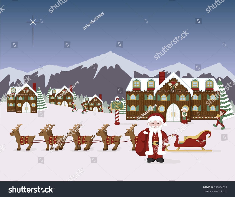 Santas North Pole Village Scene Santa Stock Vector ...